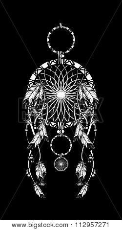 Dreamcatcher On A Black Background