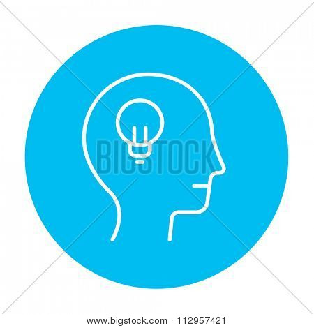 Human head with light bulb line icon for web, mobile and infographics. Vector white icon on the light blue circle isolated on white background.
