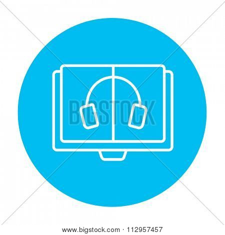 Audiobook line icon for web, mobile and infographics. Vector white icon on the light blue circle isolated on white background.