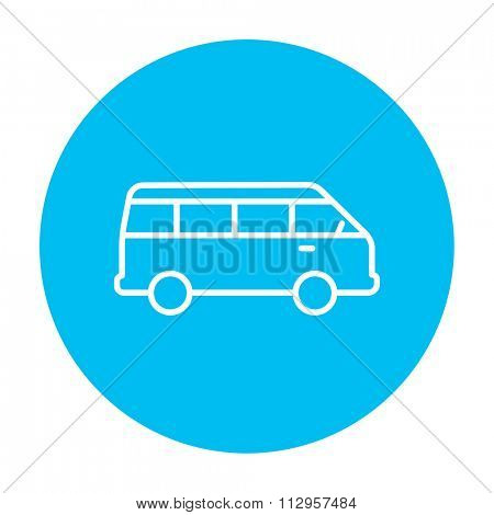 Minibus line icon for web, mobile and infographics. Vector white icon on the light blue circle isolated on white background.