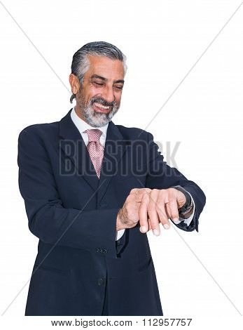 Businessman In Suit And Tie, Use Smartwacth.
