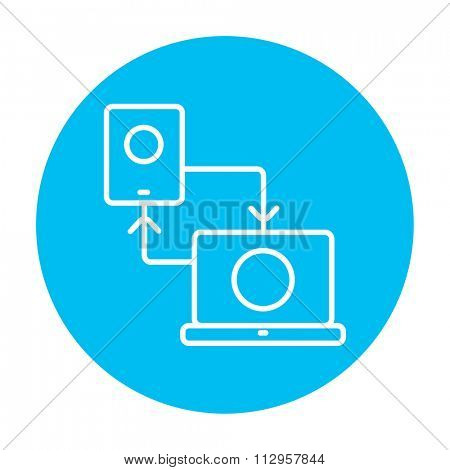 Synchronization smartphone with laptop line icon for web, mobile and infographics. Vector white icon on the light blue circle isolated on white background.