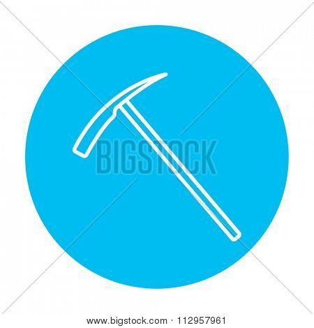 Ice pick axe line icon for web, mobile and infographics. Vector white icon on the light blue circle isolated on white background.