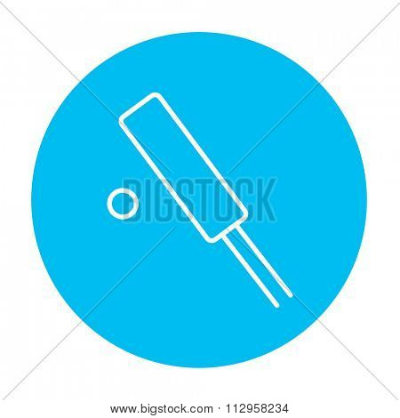 Cricket line icon for web, mobile and infographics. Vector white icon on the light blue circle isolated on white background.