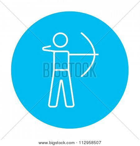Archer training with the bow line icon for web, mobile and infographics. Vector white icon on the light blue circle isolated on white background.