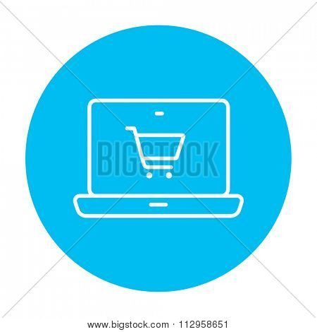 Laptop with a shopping cart on a screen line icon for web, mobile and infographics. Vector white icon on the light blue circle isolated on white background.