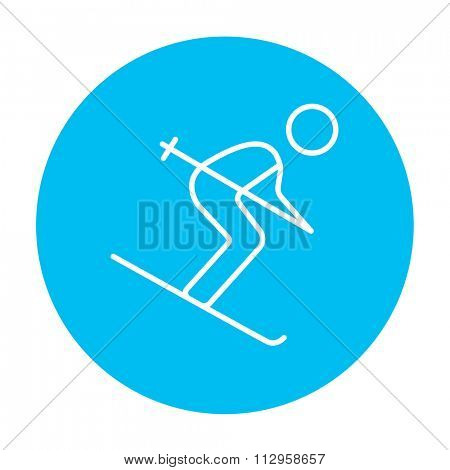 Downhill skiing line icon for web, mobile and infographics. Vector white icon on the light blue circle isolated on white background.