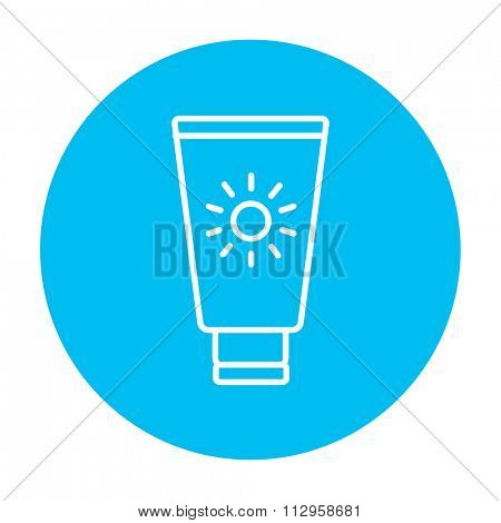 Sunscreen line icon for web, mobile and infographics. Vector white icon on the light blue circle isolated on white background.