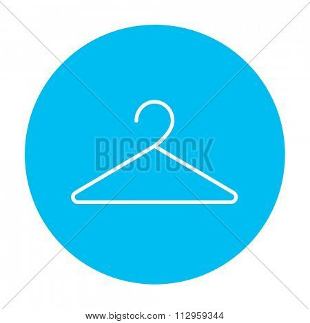 Hanger line icon for web, mobile and infographics. Vector white icon on the light blue circle isolated on white background.