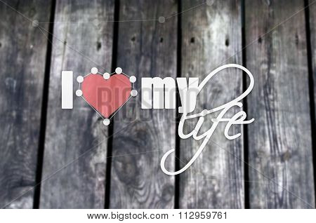 Blurred background with wooden black planks. Concept background with dotted line, heart and the text