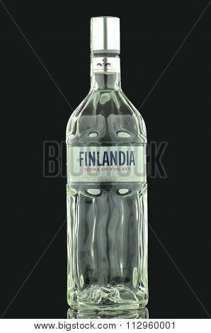 Finlandia vodka isolated on dark background.