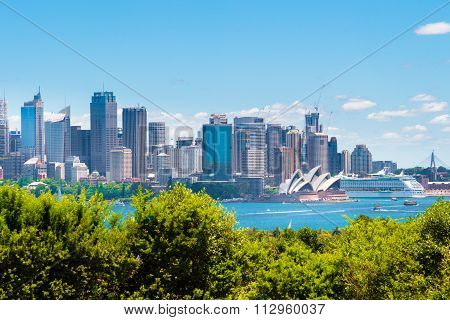 Sydney, Australia - January 11, 2014 : View Over Opera House And Central Business District Skyline