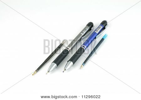 Two ballpoint pens and rods