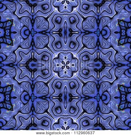 Seamless pattern with abstract motif like a kaleidoscope. Abstract psychedelic kaleidoscope