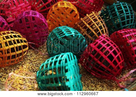 small birds trapped in colourful bamboo cages