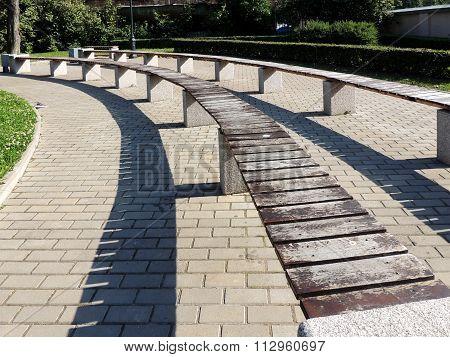 Amphitheater benches in Izmailovo garden on  Fontanka. St. Petersburg