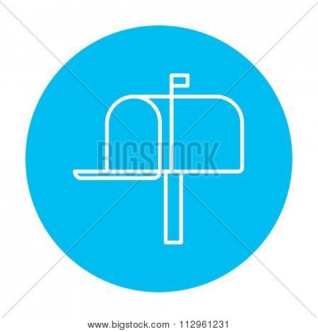 Mail box line icon for web, mobile and infographics. Vector white icon on the light blue circle isolated on white background.