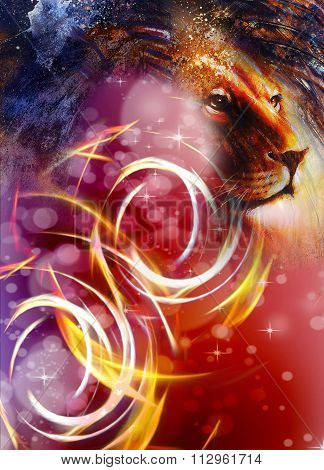 lion head with a majestically peaceful expression, light effect and stars with bookeg. profile portr