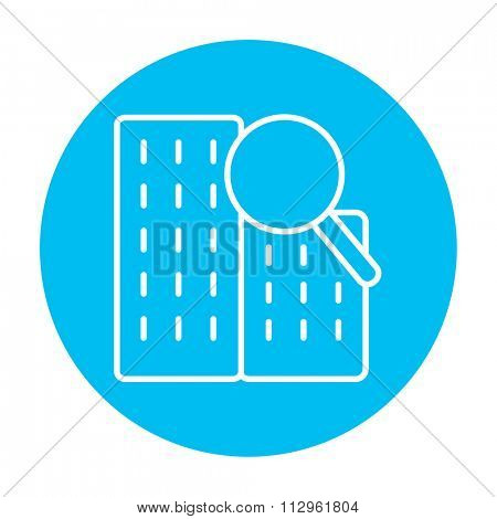 Condominium and magnifying glass line icon for web, mobile and infographics. Vector white icon on the light blue circle isolated on white background.