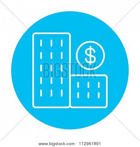 Condominium with dollar symbol line icon for web, mobile and infographics. Vector white icon on the light blue circle isolated on white background.
