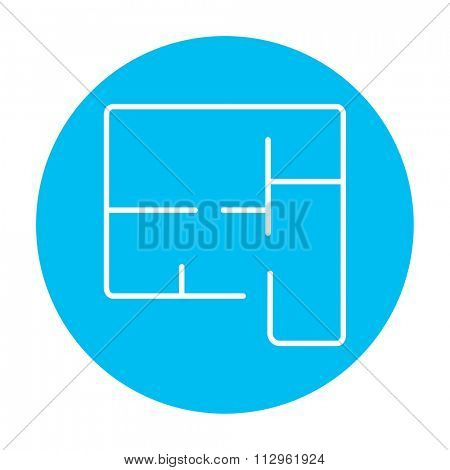 Layout of the house line icon for web, mobile and infographics. Vector white icon on the light blue circle isolated on white background.