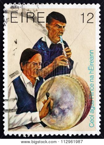 Postage Stamp Ireland 1980 Bodhran Drum And Whistle Players