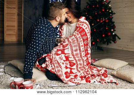Holiday Christmas Photo Of Beautiful Tender Couple