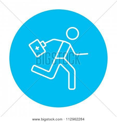 Paramedic running with first aid kit line icon for web, mobile and infographics. Vector white icon on the light blue circle isolated on white background.