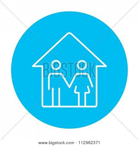 Family house line icon for web, mobile and infographics. Vector white icon on the light blue circle isolated on white background.