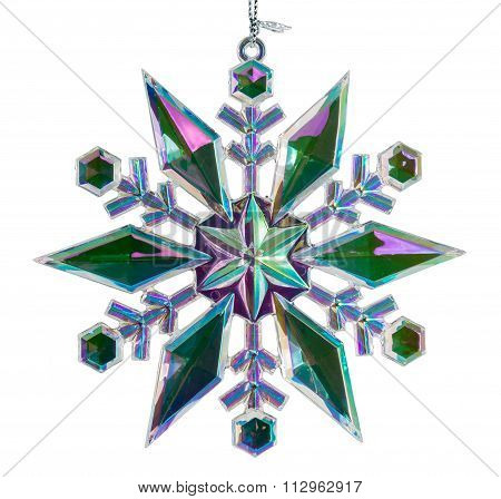 Single Christmas Star Isolated Against White