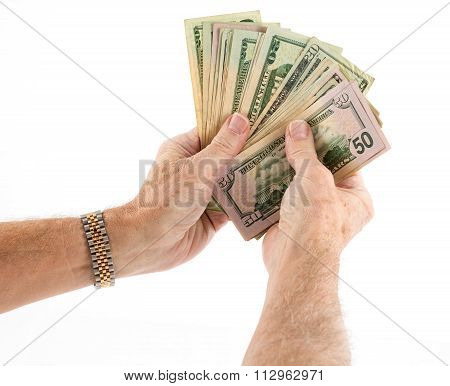 Caucasian Ethnicity Hands Holding Fan Of Us Dollar Bills