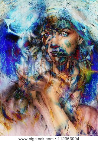 Young woman portrait, color painting on abstract background, computer collage.