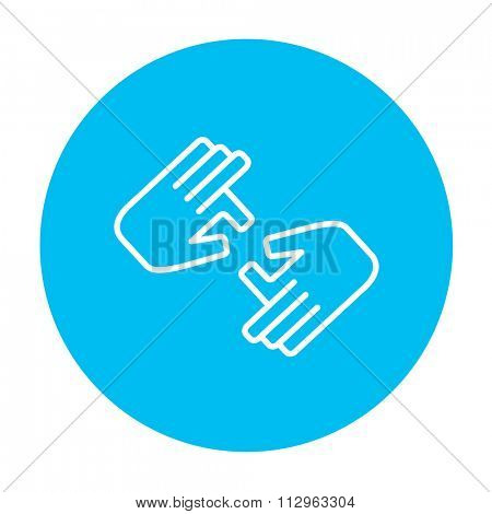 Finger language line icon for web, mobile and infographics. Vector white icon on the light blue circle isolated on white background.