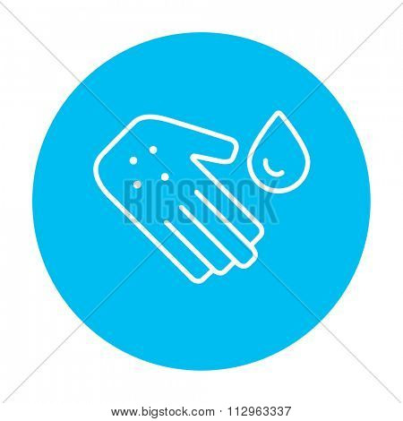 Hand with microbes and water drop line icon for web, mobile and infographics. Vector white icon on the light blue circle isolated on white background.