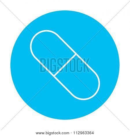 Capsule pill line icon for web, mobile and infographics. Vector white icon on the light blue circle isolated on white background.