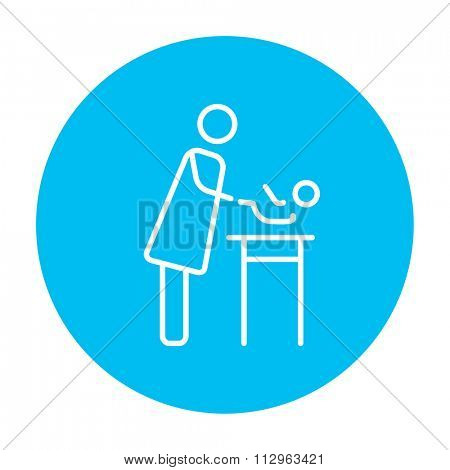 Mother taking care of the baby line icon for web, mobile and infographics. Vector white icon on the light blue circle isolated on white background.