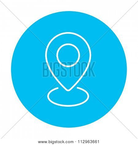 Navigator guide itinerary line icon for web, mobile and infographics. Vector white icon on the light blue circle isolated on white background.