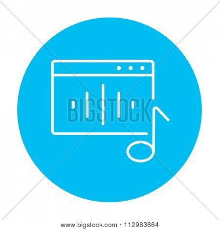Radio line icon for web, mobile and infographics. Vector white icon on the light blue circle isolated on white background.