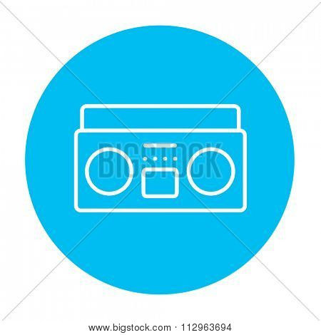 Radio cassette player line icon for web, mobile and infographics. Vector white icon on the light blue circle isolated on white background.