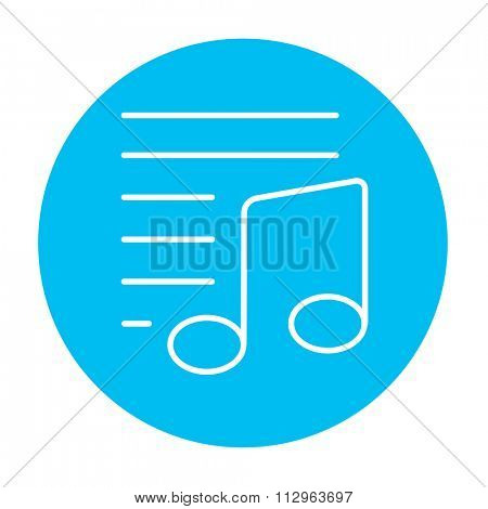 Musical note line icon for web, mobile and infographics. Vector white icon on the light blue circle isolated on white background.