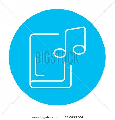 Audio book line icon for web, mobile and infographics. Vector white icon on the light blue circle isolated on white background.