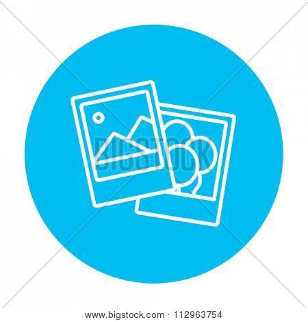 Photos line icon for web, mobile and infographics. Vector white icon on the light blue circle isolated on white background.