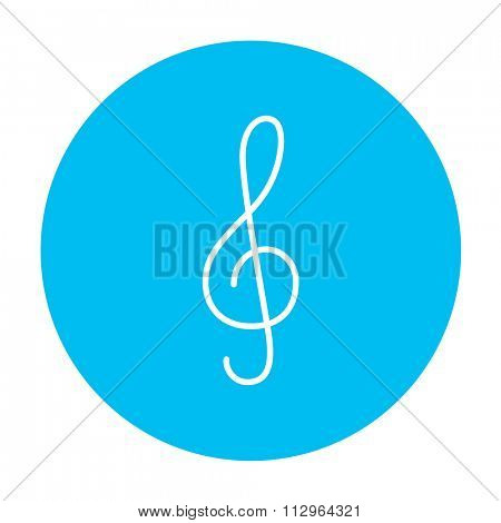 G-clef line icon for web, mobile and infographics. Vector white icon on the light blue circle isolated on white background.