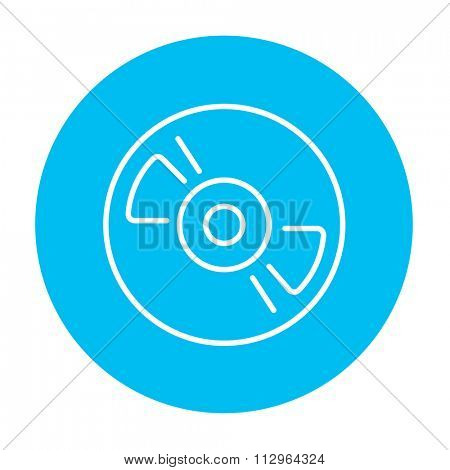 Reel tape deck player recorder line icon for web, mobile and infographics. Vector white icon on the light blue circle isolated on white background.