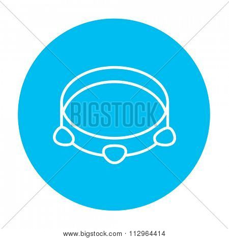 Tambourine line icon for web, mobile and infographics. Vector white icon on the light blue circle isolated on white background.
