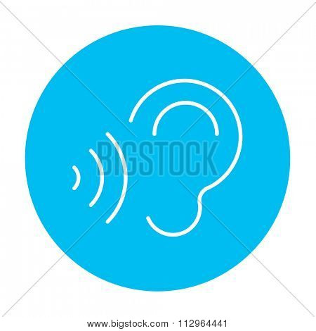 Ear and sound waves line icon for web, mobile and infographics. Vector white icon on the light blue circle isolated on white background.