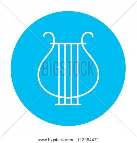 Lyre line icon for web, mobile and infographics. Vector white icon on the light blue circle isolated on white background.