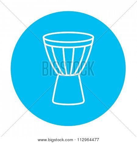Timpani line icon for web, mobile and infographics. Vector white icon on the light blue circle isolated on white background.