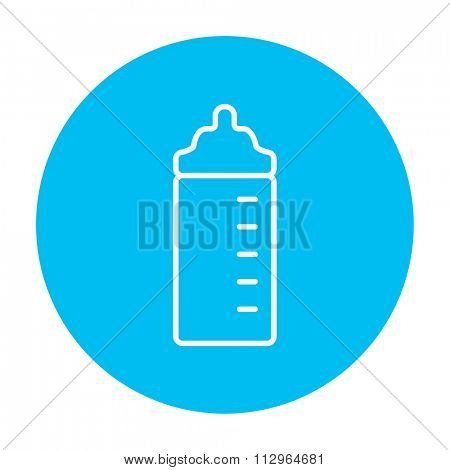 Feeding bottle line icon for web, mobile and infographics. Vector white icon on the light blue circle isolated on white background.