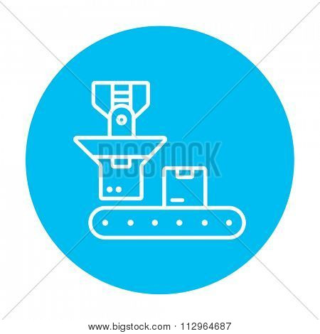 Cardboard box on conveyor belt line icon for web, mobile and infographics. Vector white icon on the light blue circle isolated on white background.